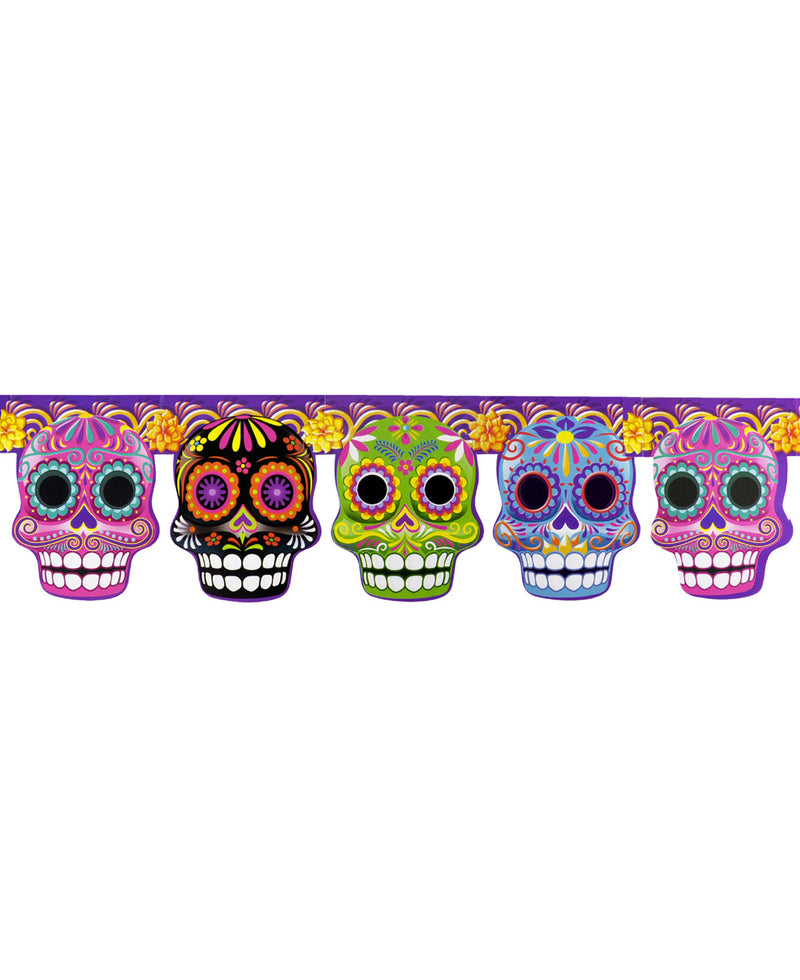 Mexican Mob Floral Sugar Skulls Paper Garland | Rebel Rebel Bruges
