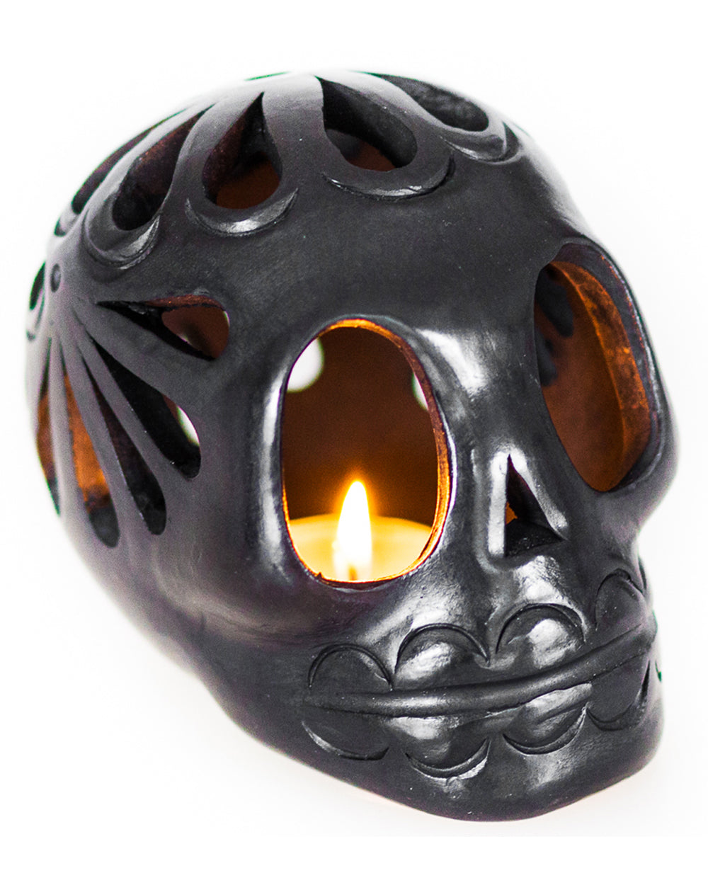Black Clay Mexican Sugar Skull Tealight Holder | Rebel Rebel Bruges
