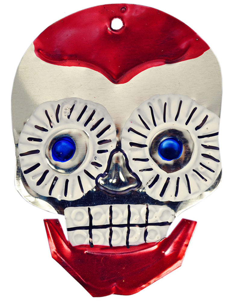 Mexican Mob Red Sugar Skull Tin Ornament | Rebel Rebel Bruges