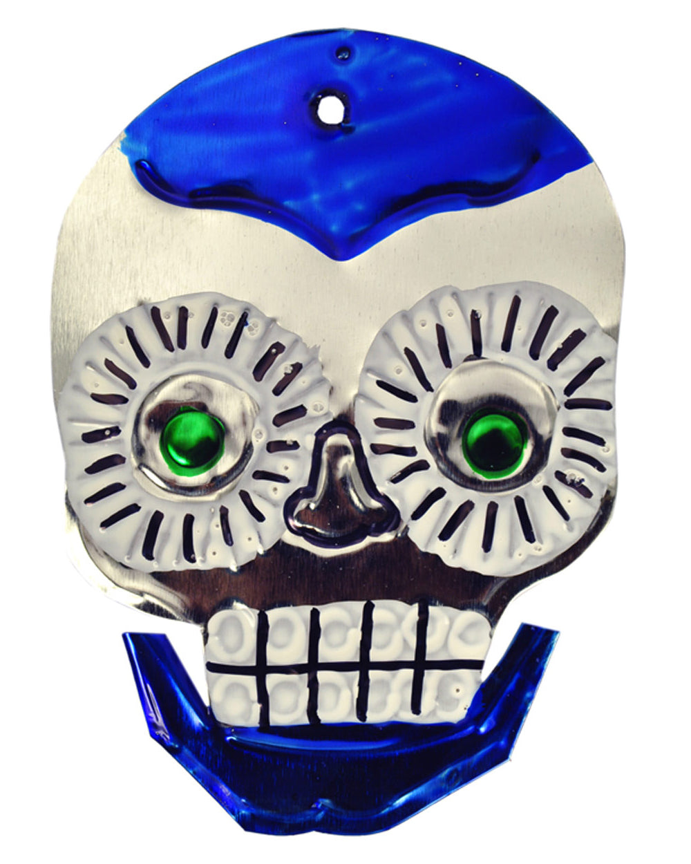 Mexican Mob Blue Sugar Skull Tin Ornament | Rebel Rebel Bruges