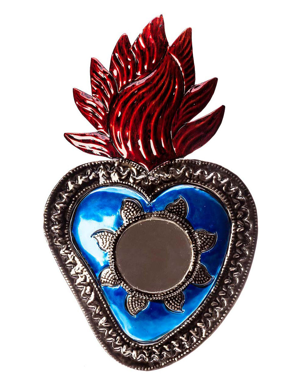 Blue Sacred Heart Mexican Tin Mirror Decoration