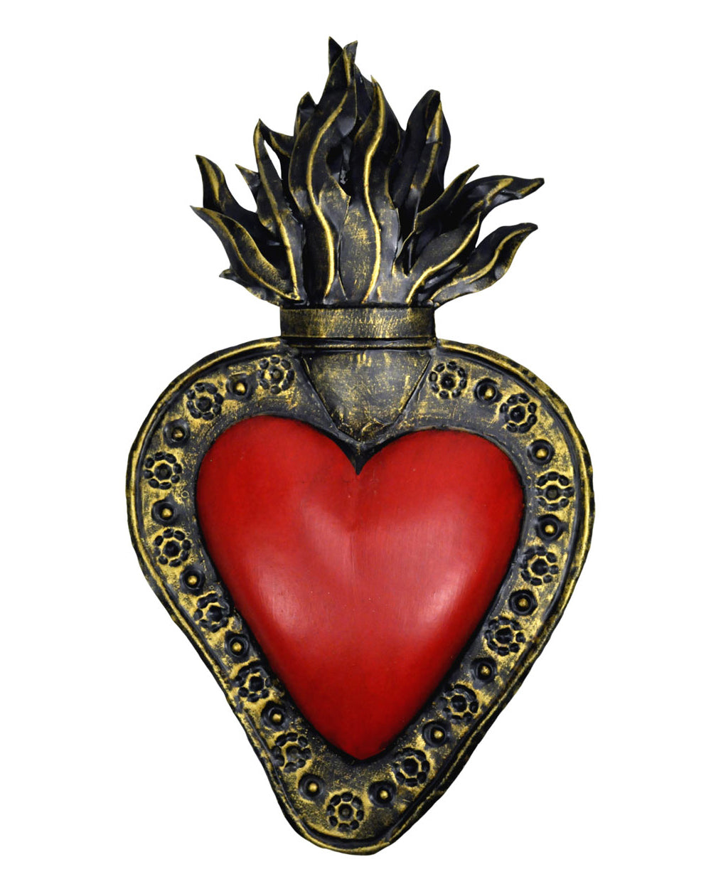 Flaming Sacred Heart Large Mexican Tin Wall Decoration