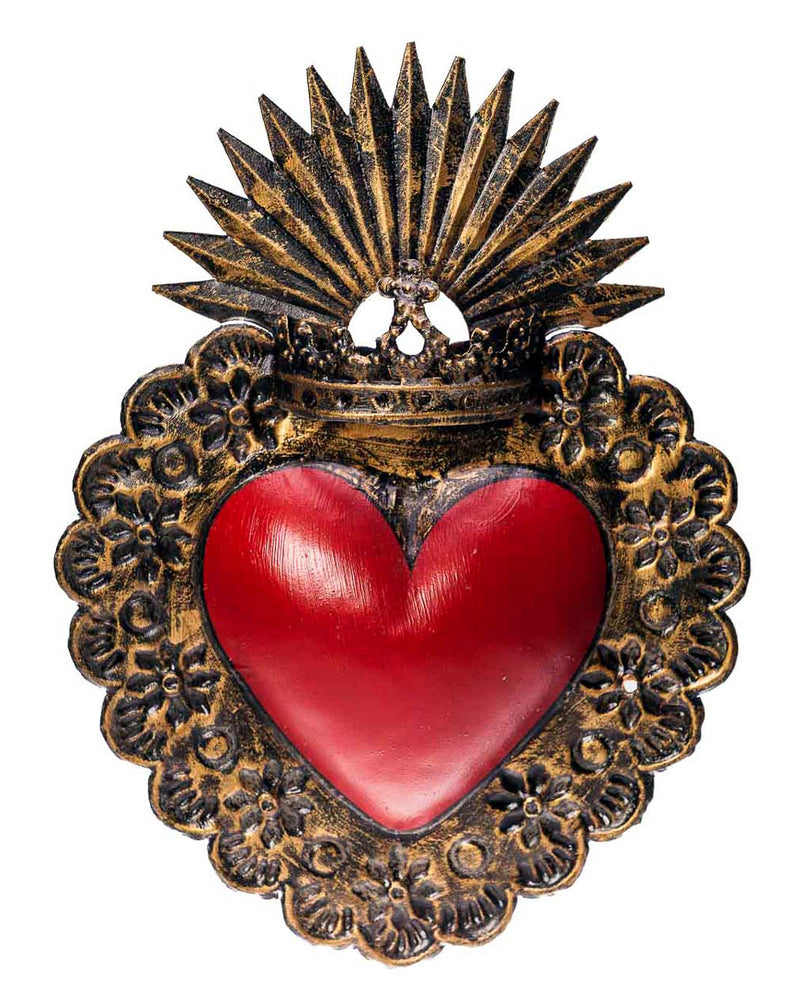 Crowned Sacred Heart Large Mexican Tin Wall Decoration