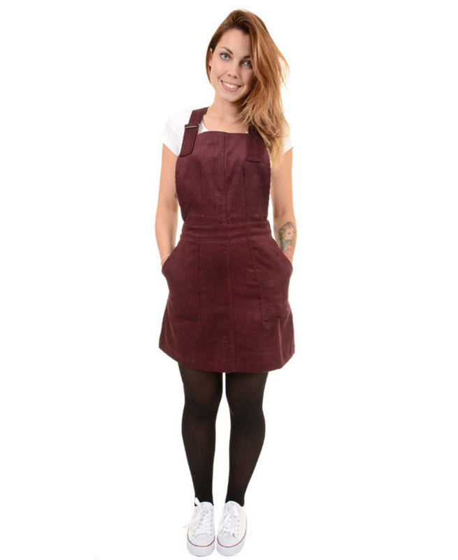 Run & Fly Burgundy Corduroy Retro Pinafore Dress | Rebel Rebel Bruges