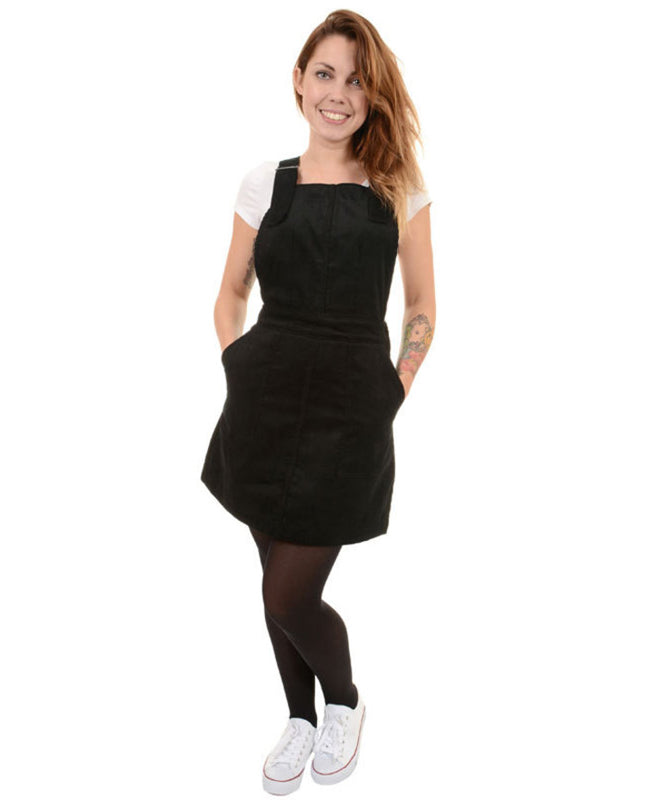Run & Fly Black Corduroy Vintage Pinafore Dress | Rebel Rebel Bruges