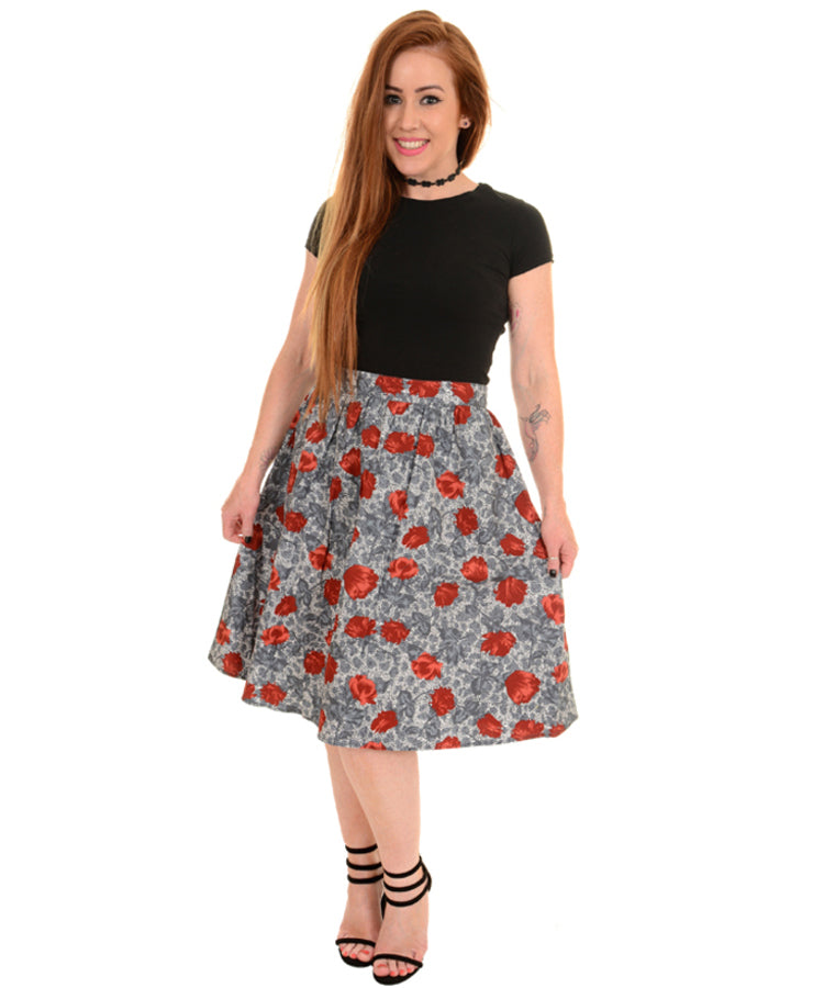 Run & Fly Vintage Florals Full Rockabilly Skirt | Rebel Rebel Bruges