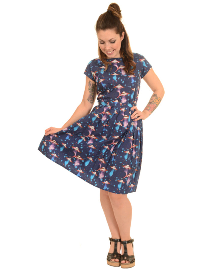 Run & Fly UFO Invasion Kitsch Tea Party Dress | Rebel Rebel Bruges