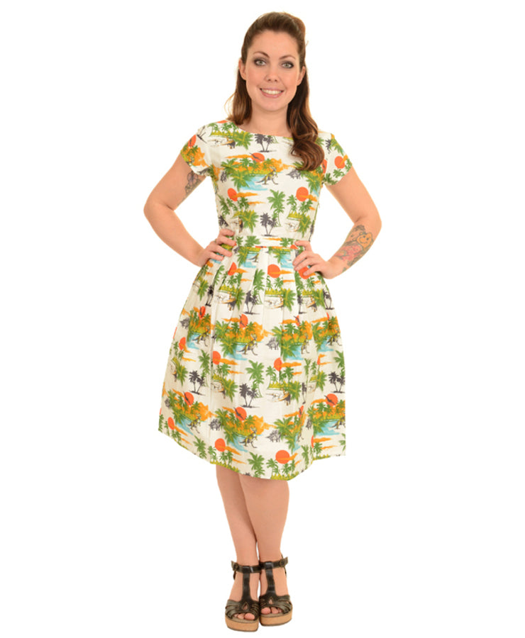 Run & Fly Dinosaur Sunset Tea Party Dress | Rebel Rebel Bruges