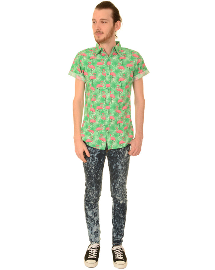 Run & Fly Flamingo Burst Hawaiian Kitsch Shirt | Rebel Rebel Bruges