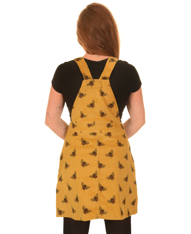 Run & Fly Bees Knees Gold Corduroy Pinafore Dress | Rebel Rebel Bruges