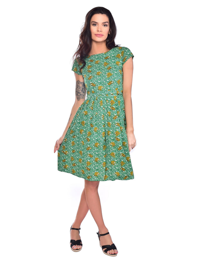 Run & Fly Rainforest Sloth Vintage Tea Dress | Rebel Rebel Bruges