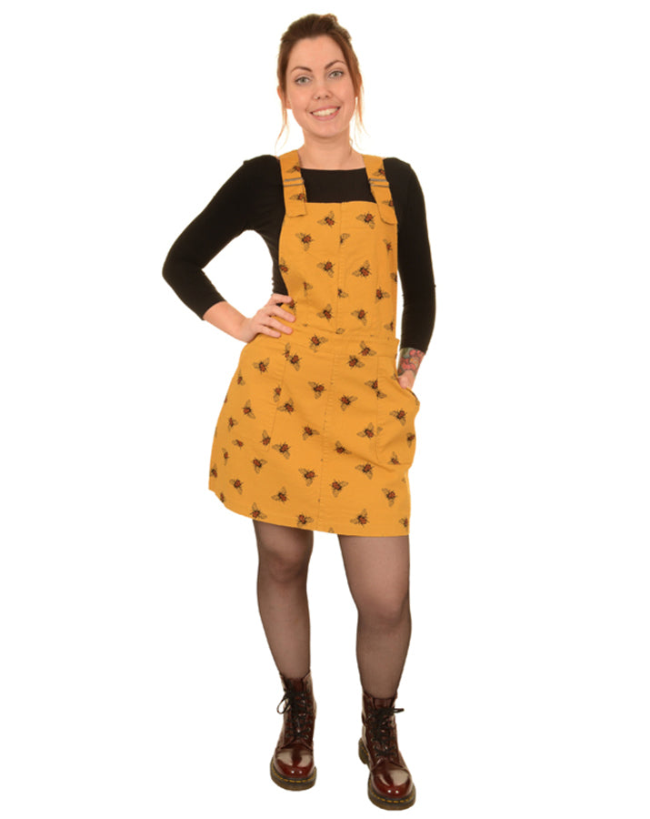 Run & Fly Bees Knees Gold Twill Pinafore Dress | Rebel Rebel Bruges