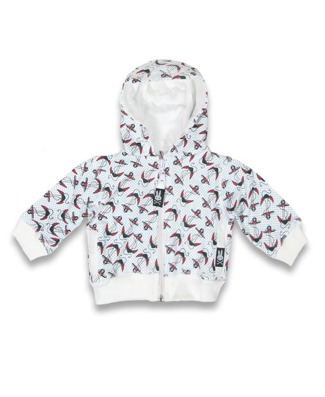Six Bunnies Anchors Tattoo Flash Baby Hoodie | Rebel Rebel Bruges