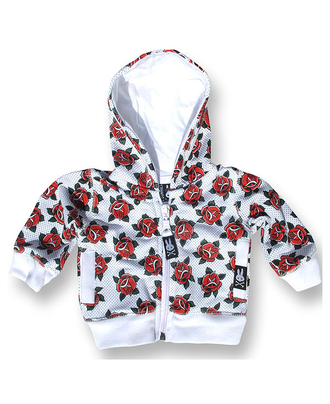 Six Bunnies Roses Tattoo Flash Baby Hoodie | Rebel Rebel Bruges