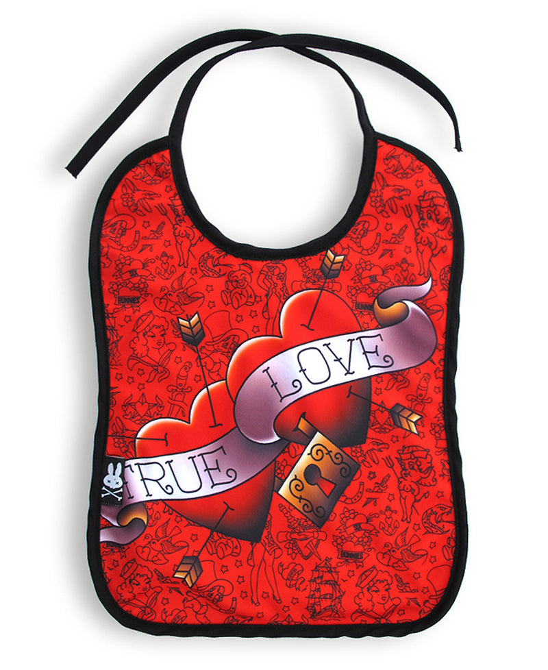 Six Bunnies True Love Hearts Red Tattoo Baby Bib | Rebel Rebel Bruges
