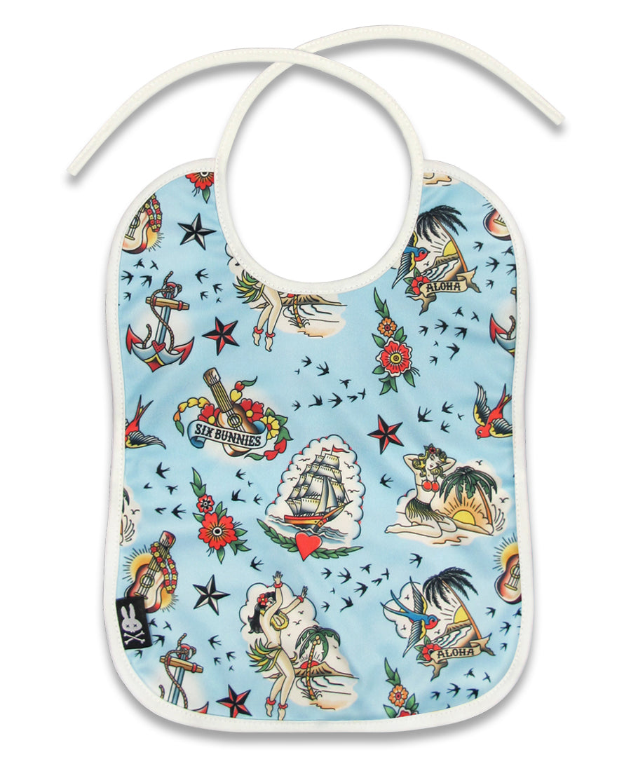 Six Bunnies Aloha Tattoo Flash Baby Bib | Rebel Rebel Bruges