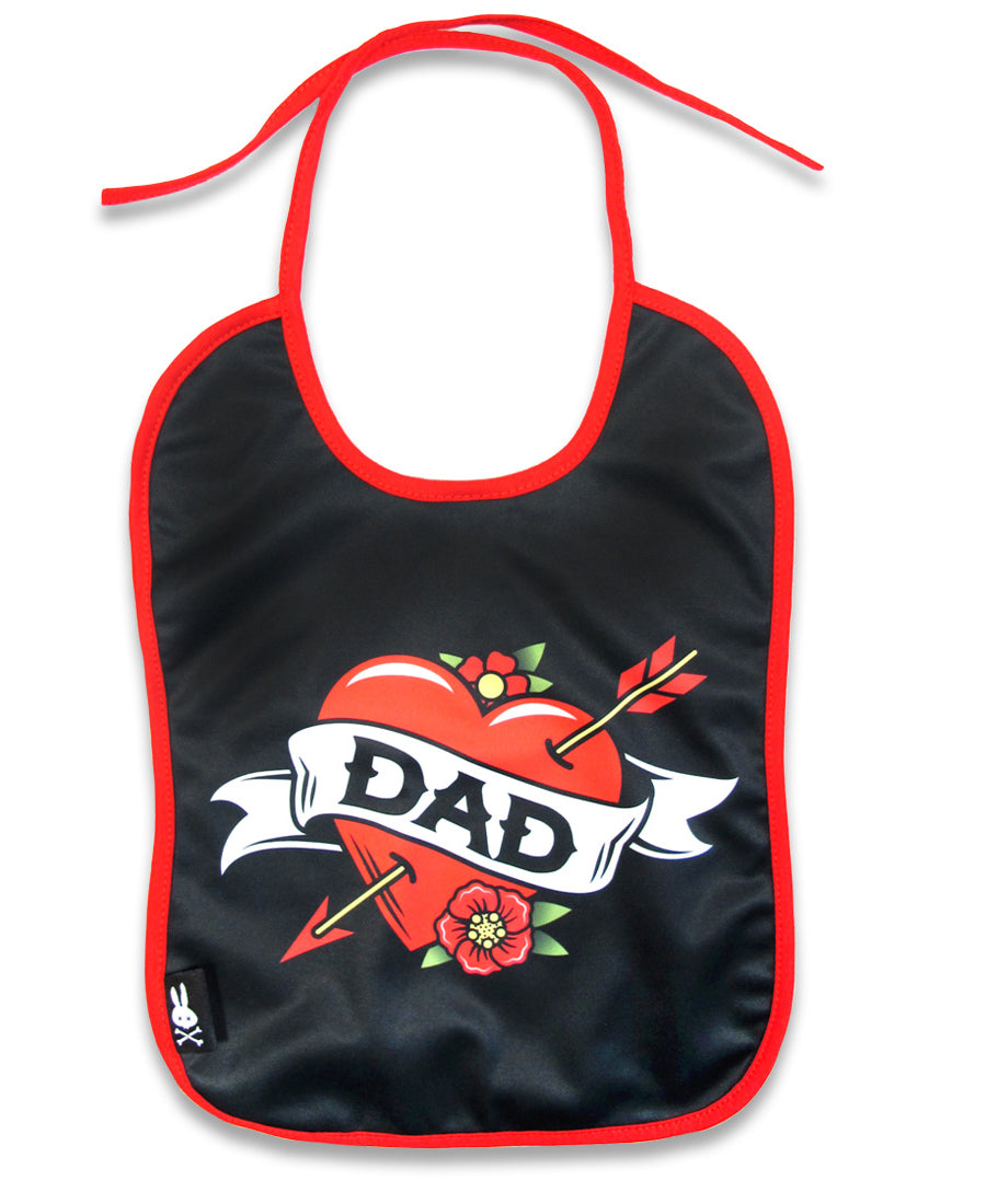 Six Bunnies Dad Tattoo Flash Heart Baby Bib | Rebel Rebel Bruges