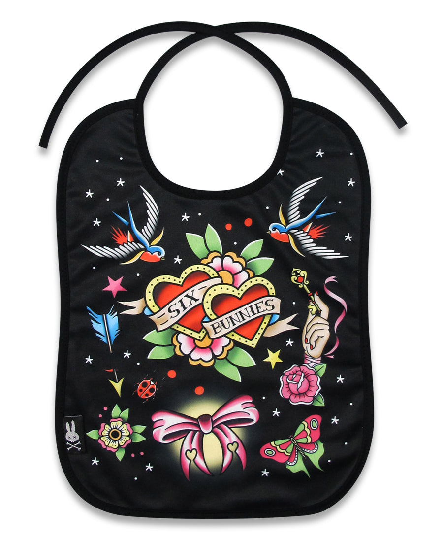 Six Bunnies True Love Black Tattoo Flash Baby Bib | Rebel Rebel Bruges