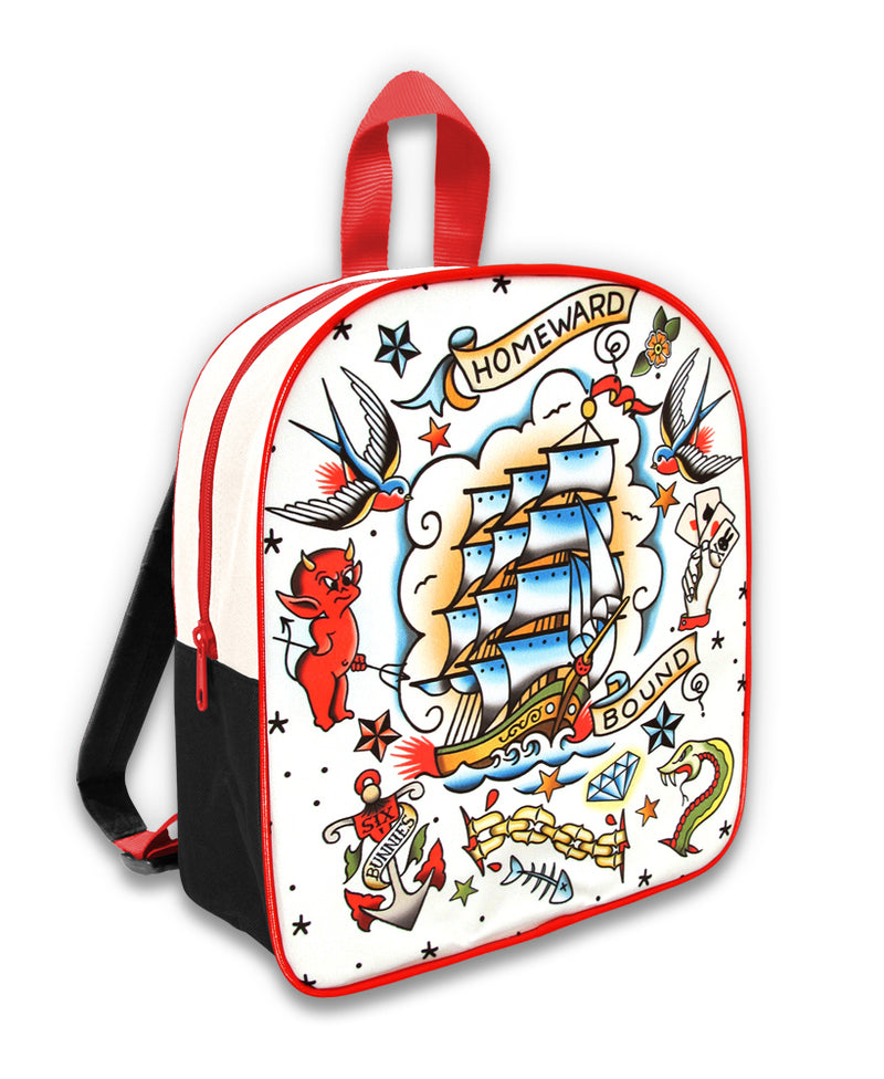 Six Bunnies Homeward Tattoo Flash Kid's Backpack | Rebel Rebel Bruges