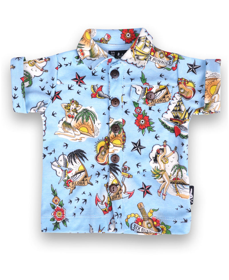 Six Bunnies Aloha Tattoo Flash Baby Button Up Shirt | Rebel Rebel Bruges