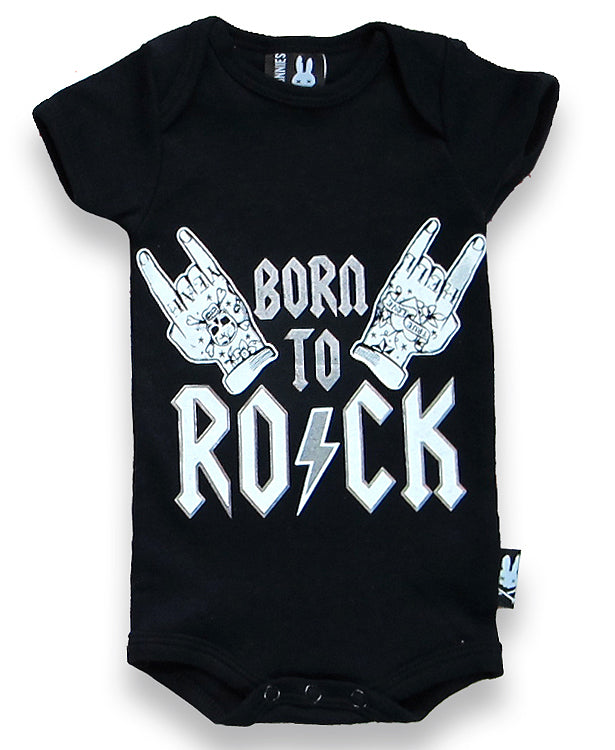 Six Bunnies Born To Rock Baby Romper