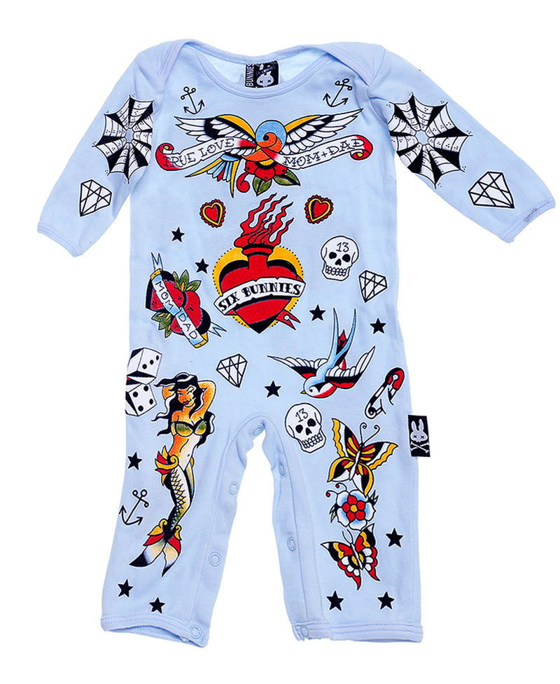 Six Bunnies Blue Tattoo Flash Baby Playsuit | Rebel Rebel Bruges