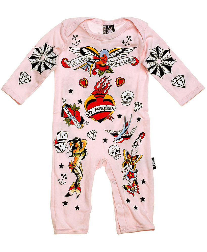Six Bunnies Pink Tattoo Flash Baby Playsuit | Rebel Rebel Bruges