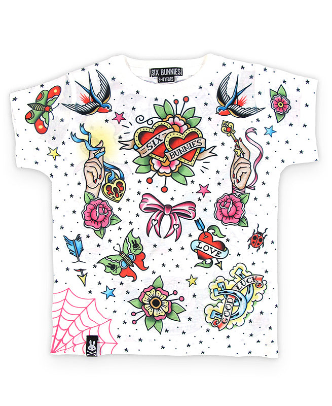 Six Bunnies True Love Tattoo Flash Kid's T-Shirt | Rebel Rebel Bruges