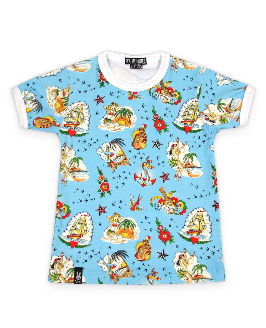 Six Bunnies Aloha Flash Tattoo Kid's T-Shirt | Rebel Rebel Bruges