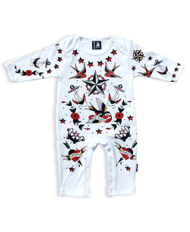 Six Bunnies Tattoo Parlour Flash Baby Playsuit | Rebel Rebel Bruges
