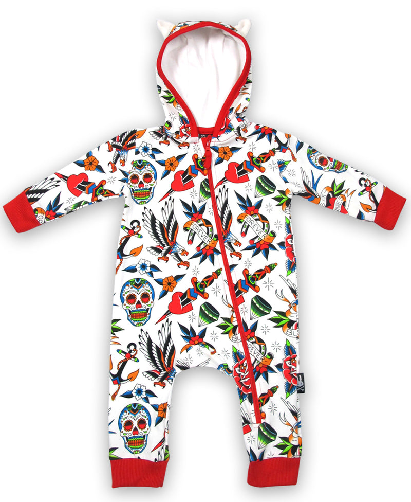 Six Bunnies Tattoo Shoppe Hooded Baby Playsuit | Rebel Rebel Bruges