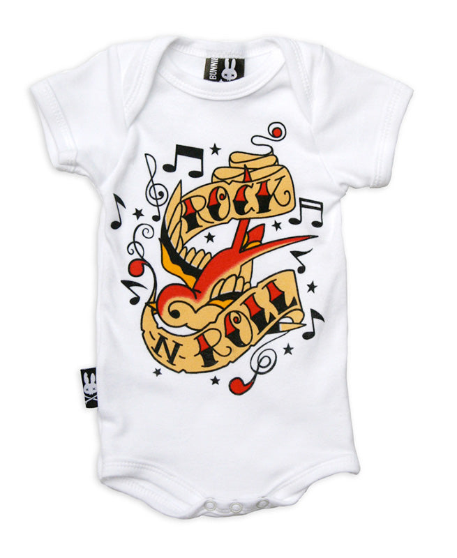 Six Bunnies Rock & Roll Swallow Baby Romper | Rebel Rebel Bruges