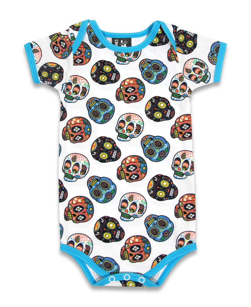 Six Bunnies Colourful Blue Sugar Skulls Baby Romper | Rebel Rebel Bruges