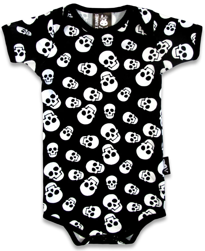 Six Bunnies Polka Skulls Alternative Baby Romper | Rebel Rebel Bruges