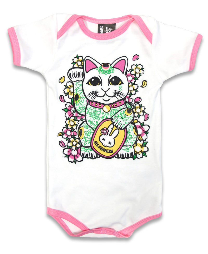 Six Bunnies Lucky Cat  Tattoo Flash Baby Romper | Rebel Rebel Bruges