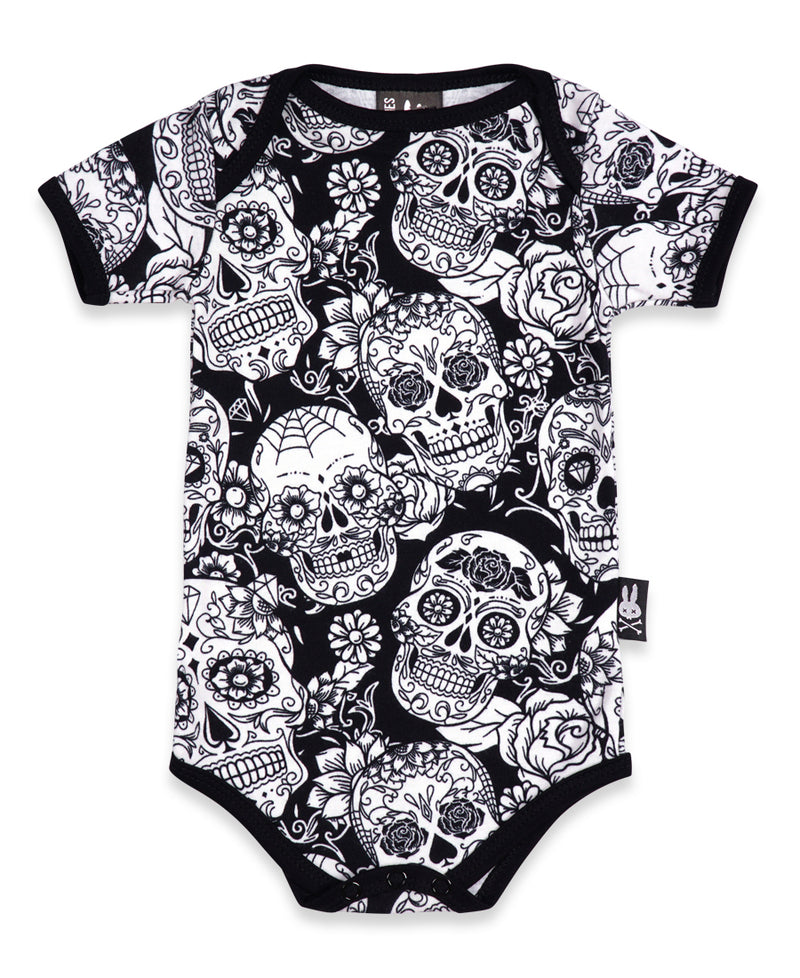 Six Bunnies Black & White Sugar Skulls Baby Romper | Rebel Rebel Bruges