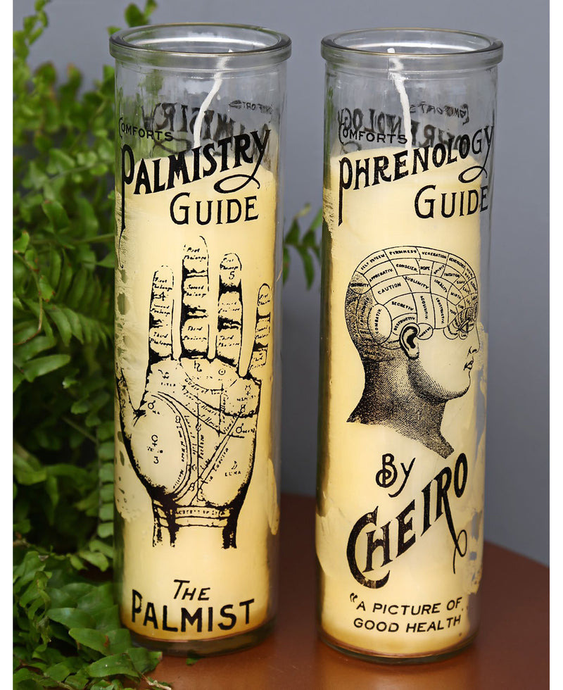 Palmistry & Phrenology Tall Glass Candles | Rebel Rebel Bruges
