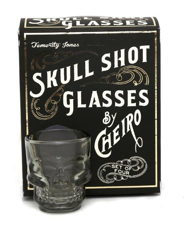Set Of 4 Smoked Grey Skull Shot Glasses | Rebel Rebel Bruges