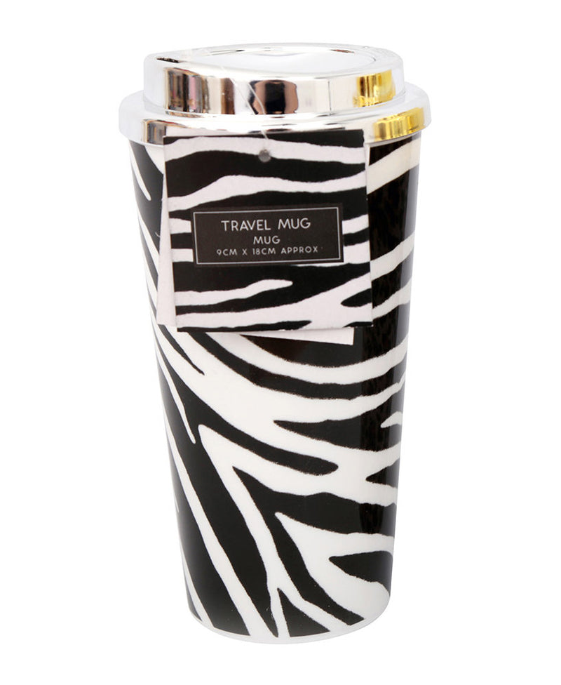 Animal Print Leopard Zebra Reusable Coffee Travel Mug | Rebel Rebel Bruges