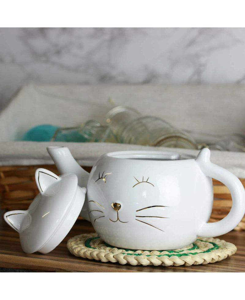 Pussy Cat Ears Cute Kawaii Ceramic Teapot | Rebel Rebel Bruges