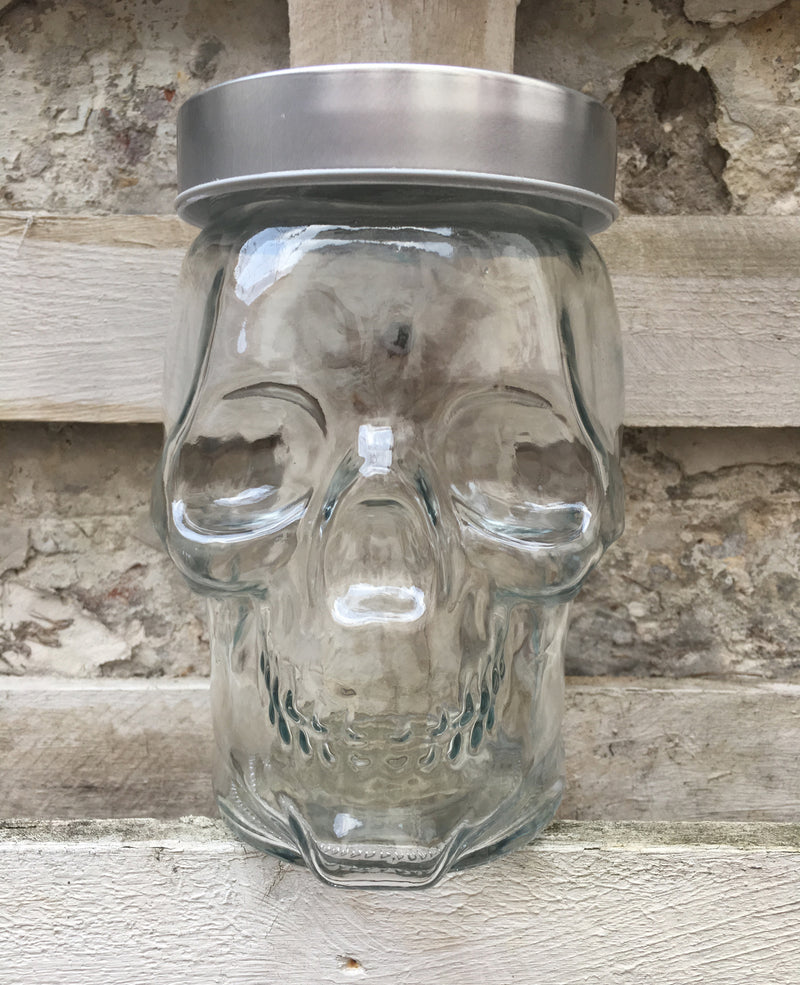 Silver Topped Large Glass Skull Storage Jar | Rebel Rebel Bruges