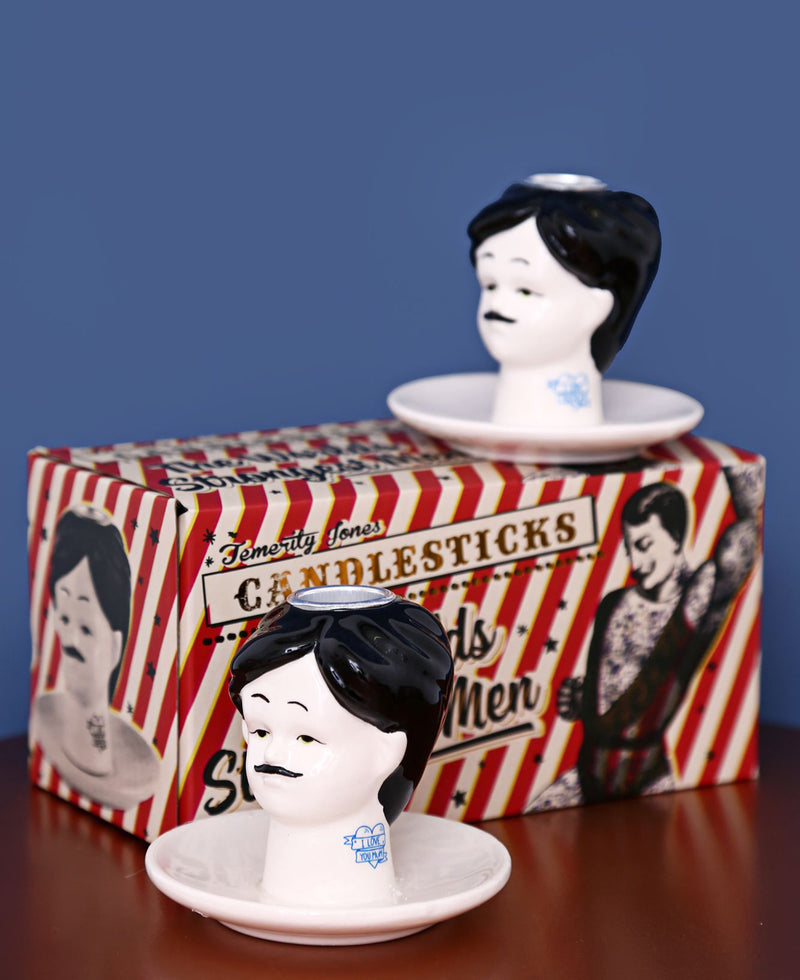 Strongman Head Kitsch Circus Candlestick Holders | Rebel Rebel Bruges
