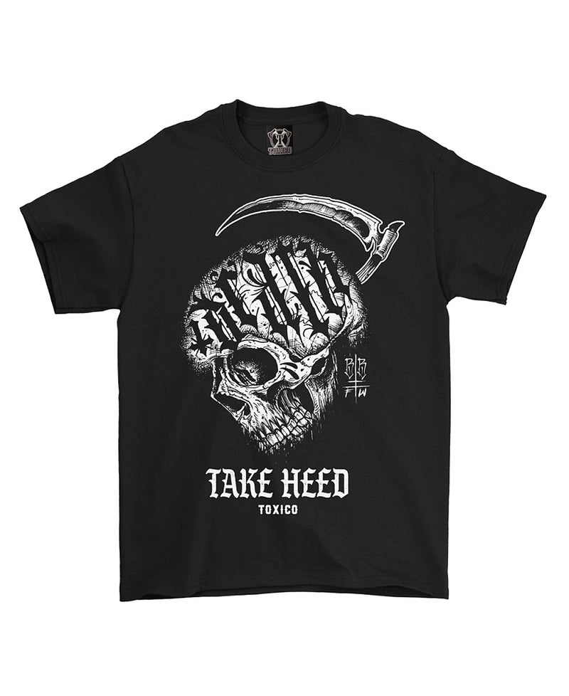 Toxico Take Heed Skull Tattoo Inspired T-Shirt | Rebel Rebel Bruges