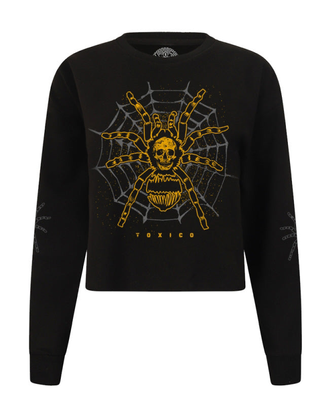 Toxico Tarantula Spider Tattoo Cropped Sweatshirt | Rebel Rebel Bruges