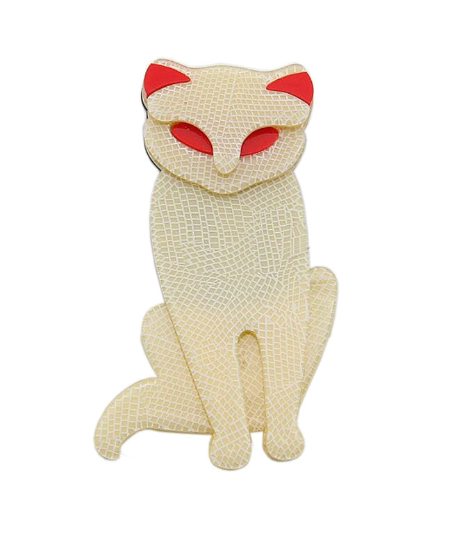 Vaudeville Rebel Mrs Whiskers Cat Acrylic Brooch | Rebel Rebel Bruges