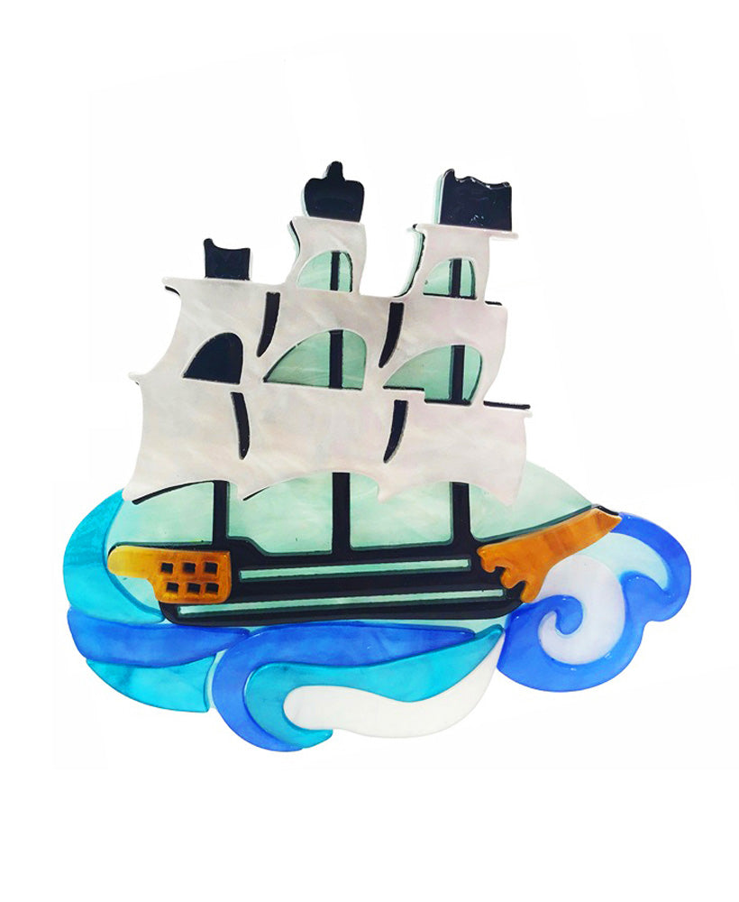 Vaudeville Rebel Seven Seas Pirate Ship Acrylic Brooch | Rebel Rebel Bruges