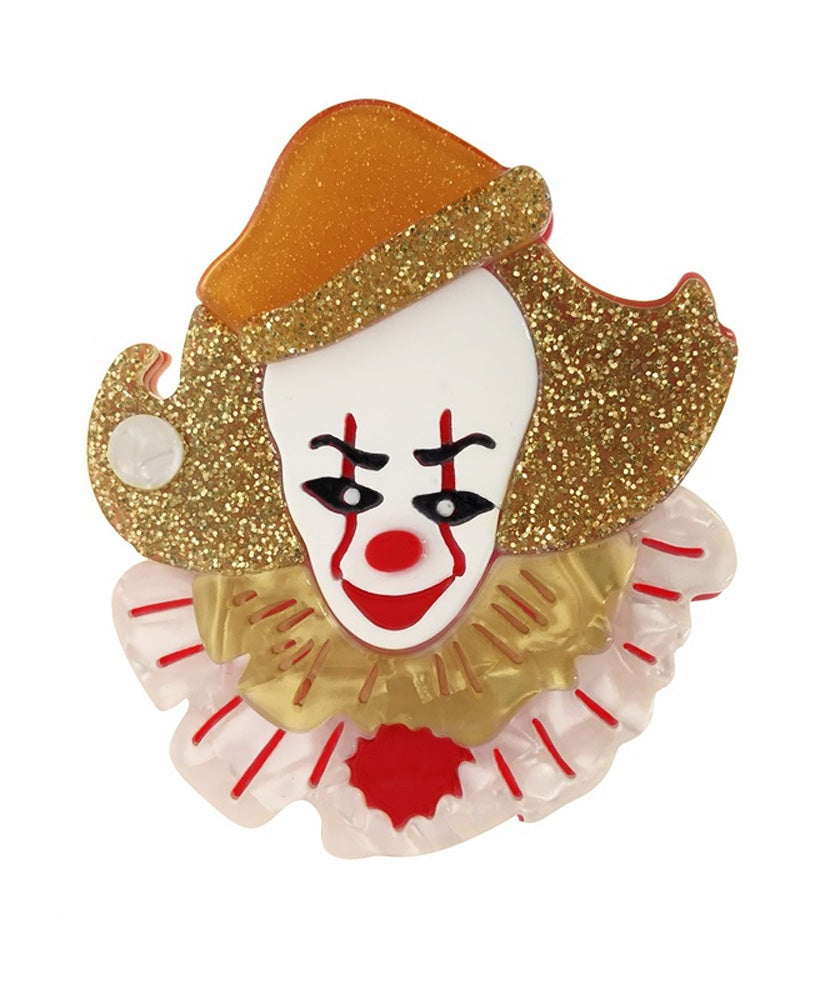 Vaudeville Rebel Pennywise Clown IT Acrylic Brooch | Rebel Rebel Bruges