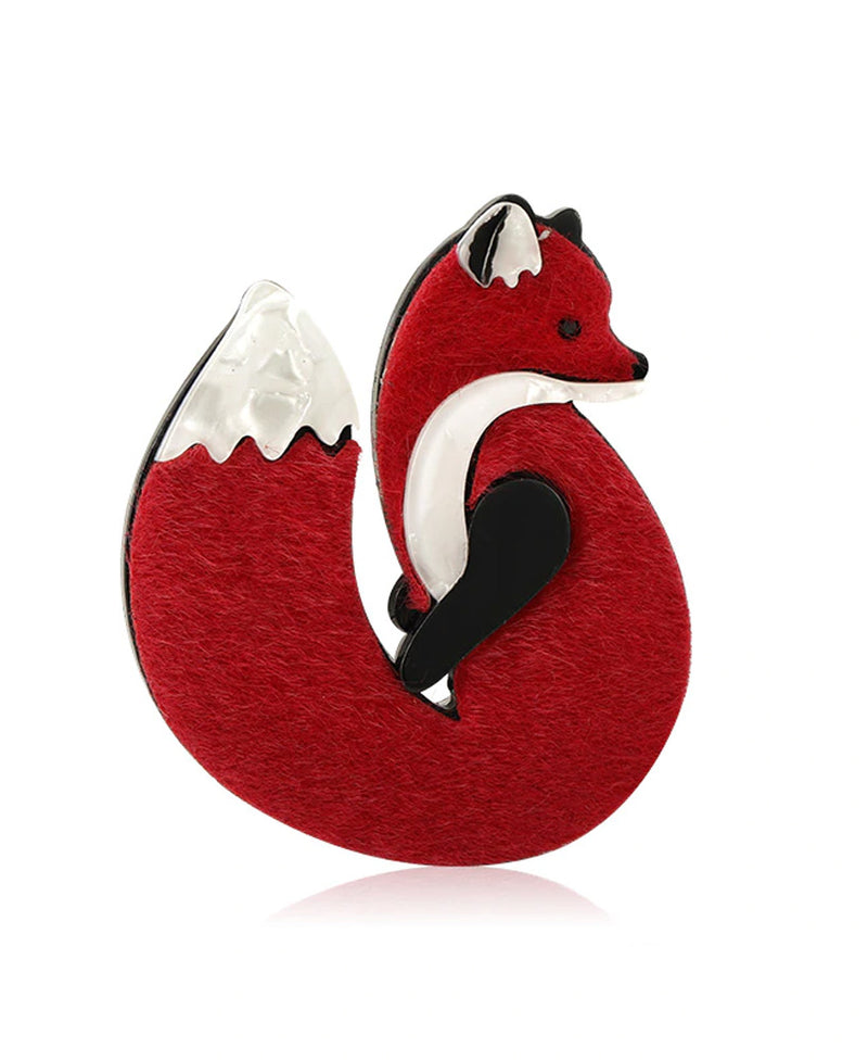 Vaudeville Rebel Wily Red Fox Acrylic Pin Brooch | Rebel Rebel Bruges