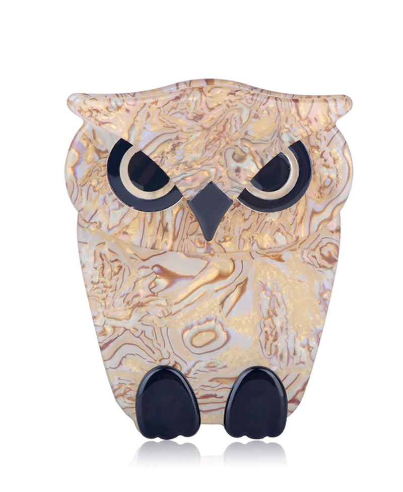 Vaudeville Rebel Twit Twoo Owl Acrylic Pin Brooch | Rebel Rebel Bruges