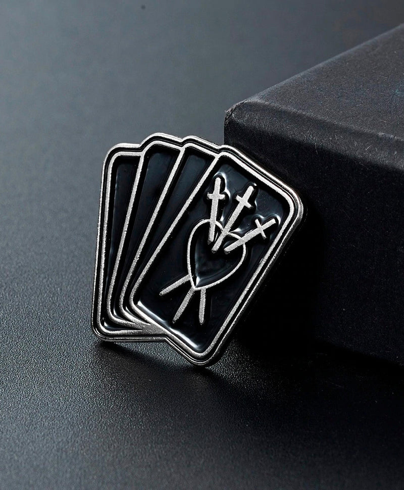 Vaudeville Rebel Three Of Swords Tarot Card Enamel Pin | Rebel Rebel Bruges